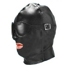 Leather Gimp Mask Hood with Mouth Open
